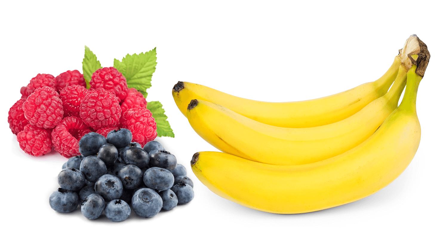 Koktajl z bananem, borówkami i malinami