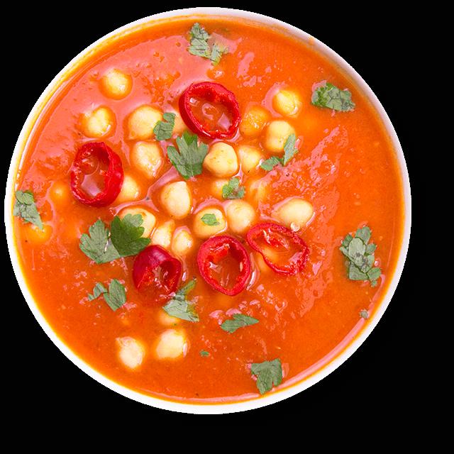 zupa z pieczonych pomidorów i papryki z ciecierzycą