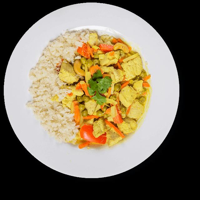 ryż z kalafiora z kurczakiem i warzywami