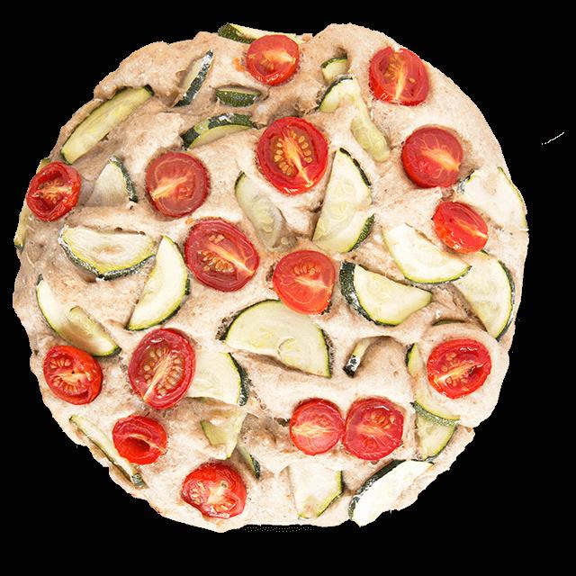 foccacia z cukinią i pomidorkami