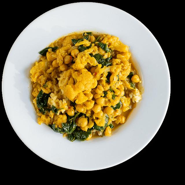 curry ze szpinakiem, ciecierzycą i kalafiorem