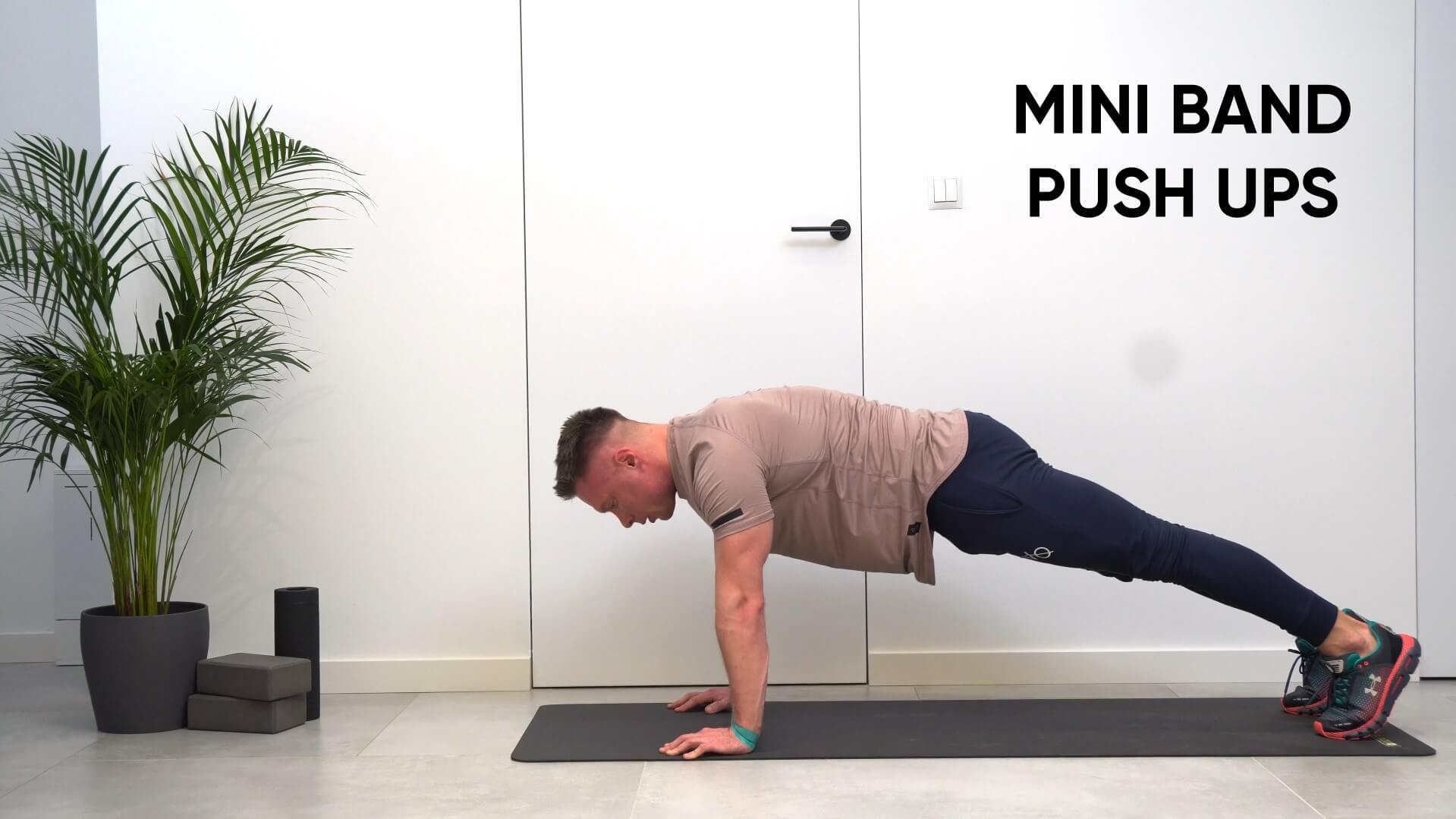 Mini band pushups