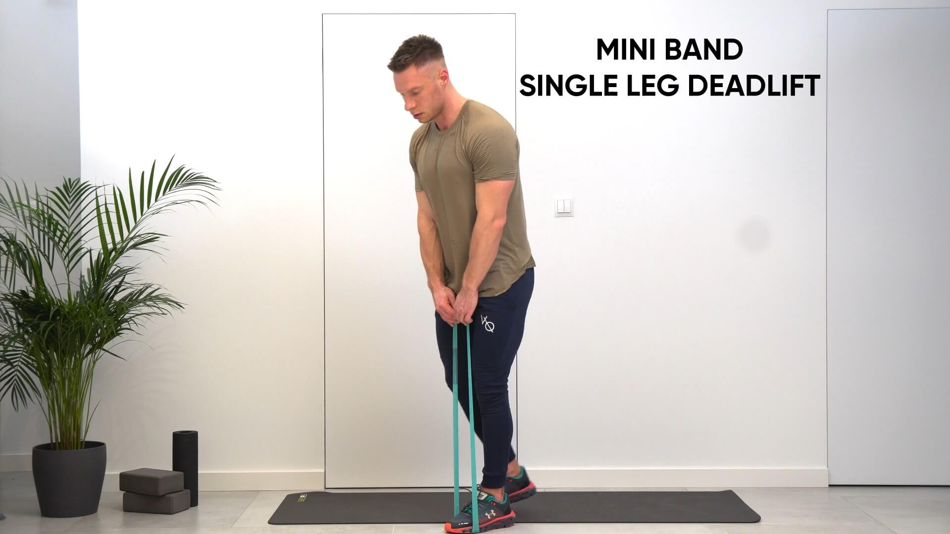 Mini band single leg deadlift