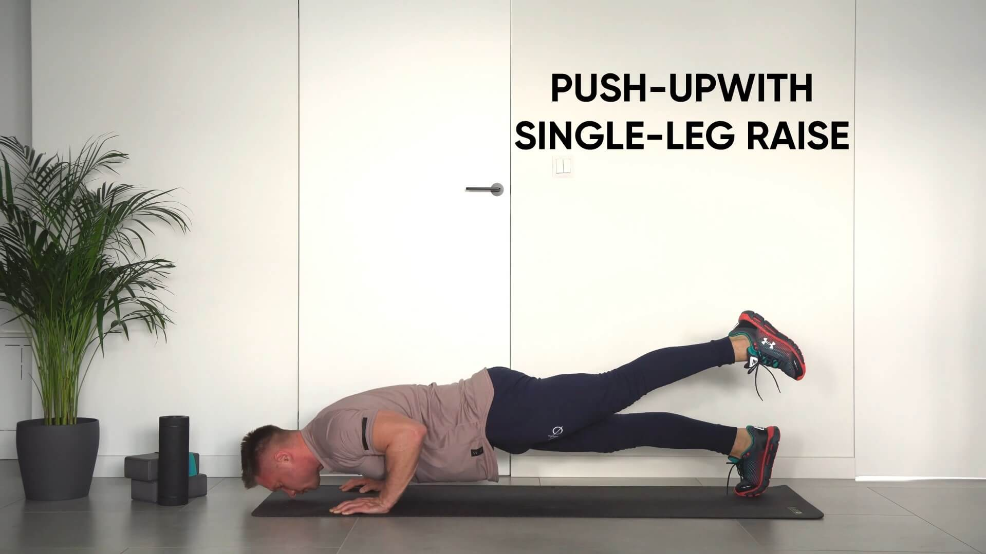 Push up with single leg raise