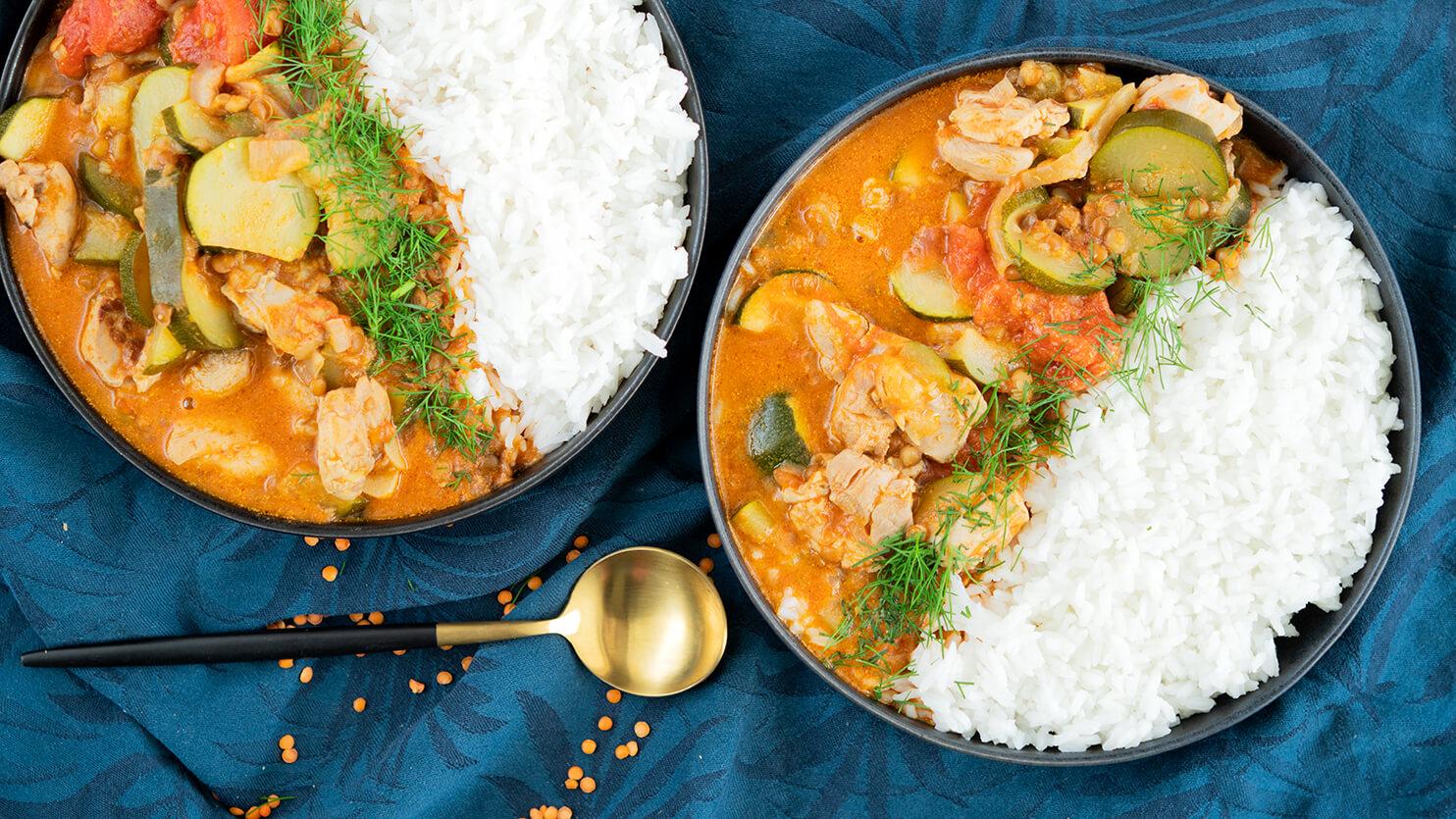 Kurczak curry z soczewicą