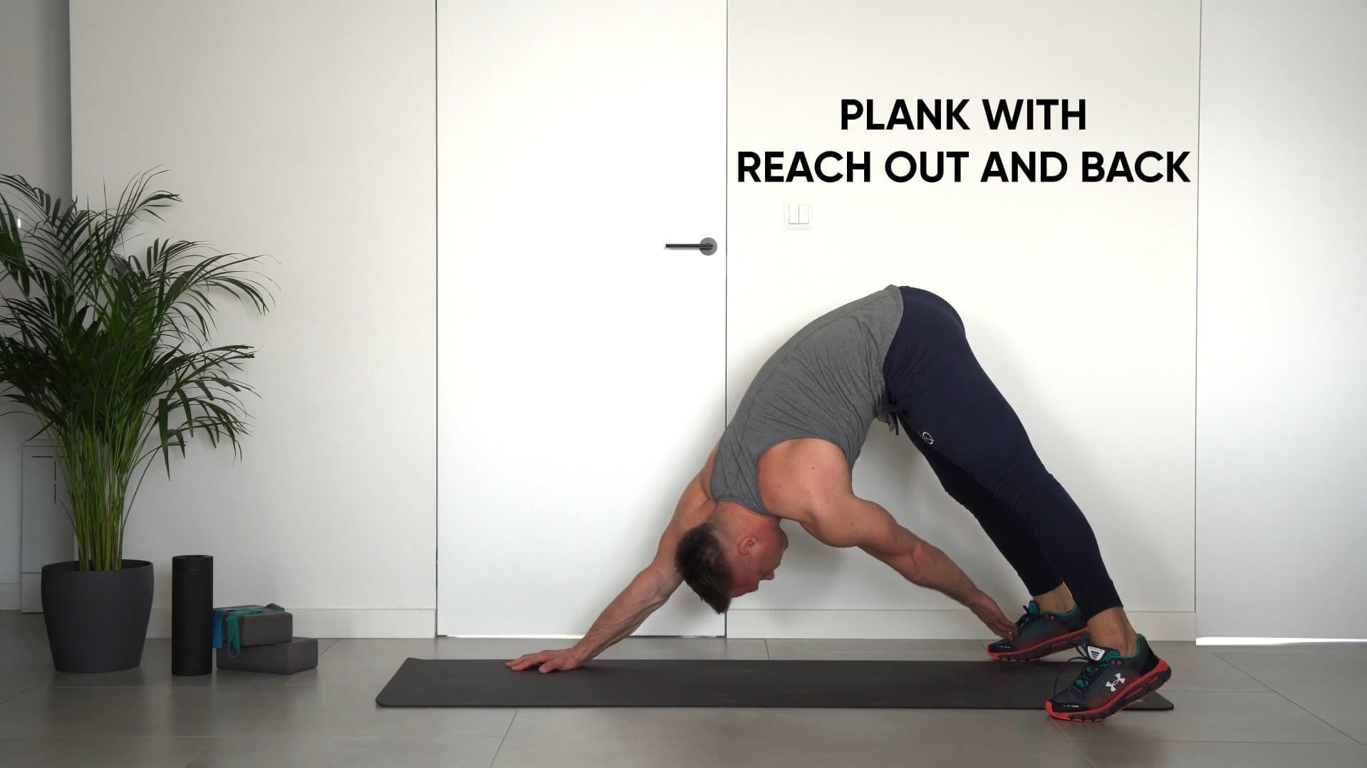 Plank with reach out and back