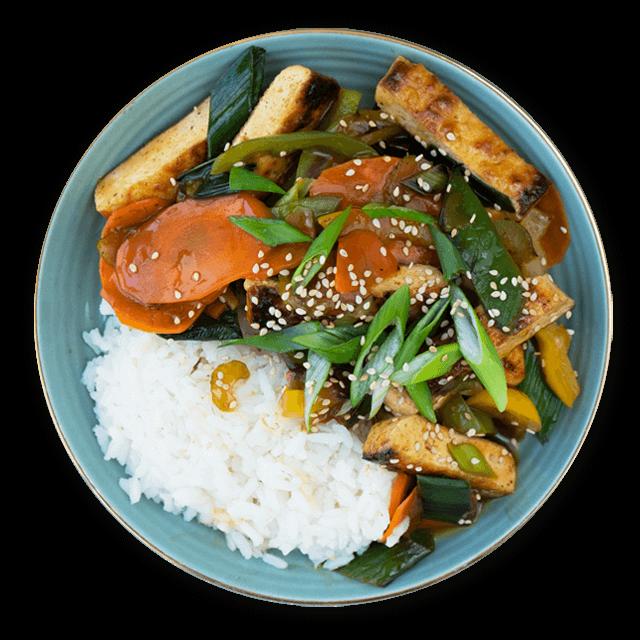 tofu z ryżem i warzywami