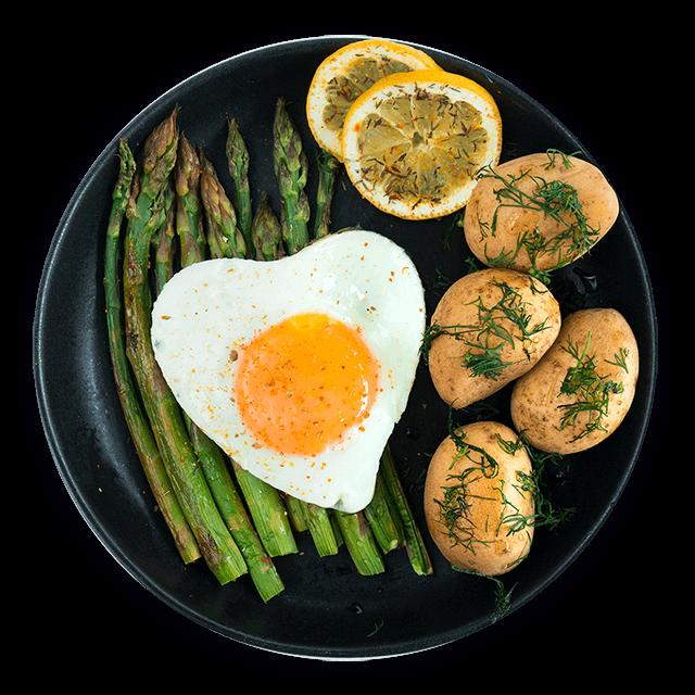 szparagi z ziemniakami i jajkiem sadzonym