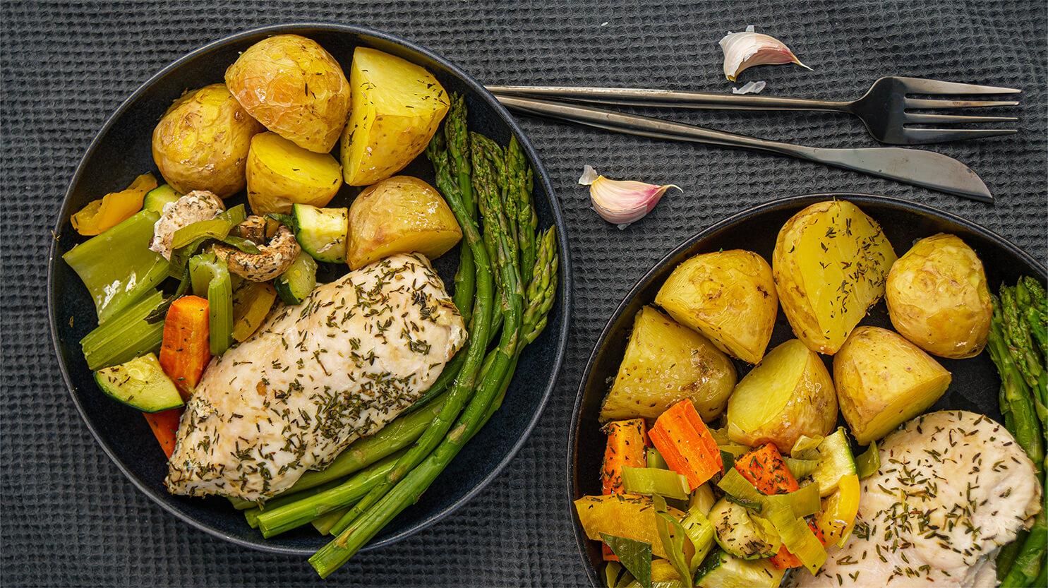 Kurczak pieczony z warzywami i ziemniakami