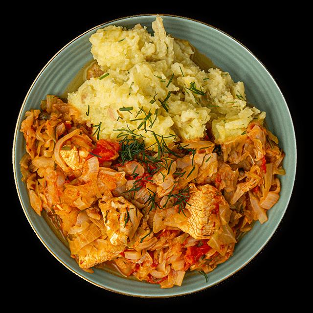 bigos z kurczaka i purre ziemniaczane