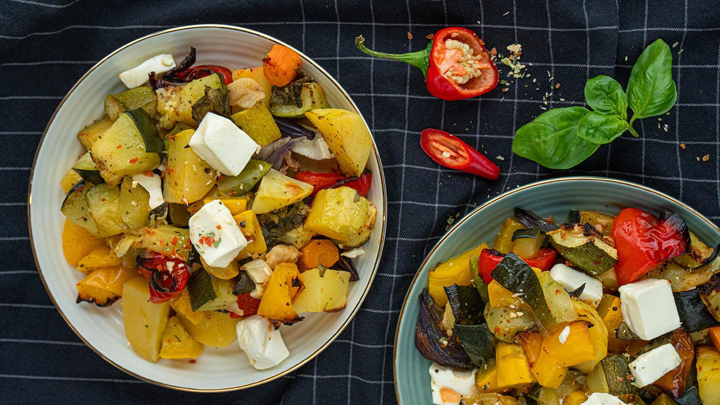 Zapiekanka warzywna z serem feta