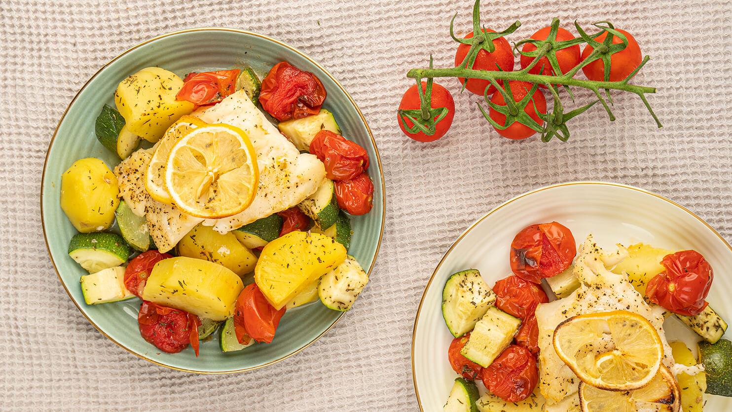 Dorsz z ziemniakami i warzywami