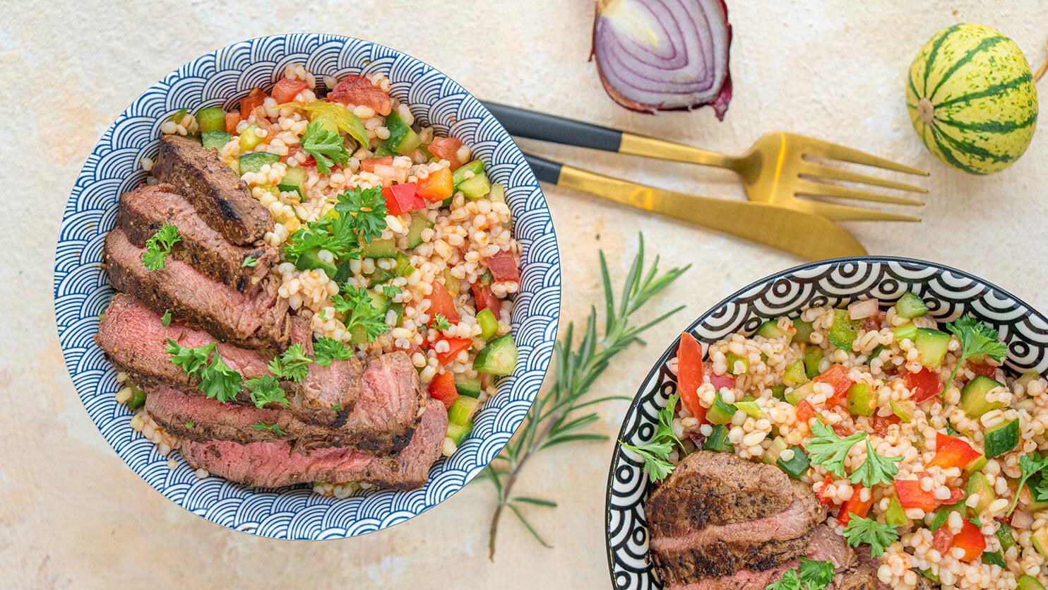 Stek wołowy z kaszą