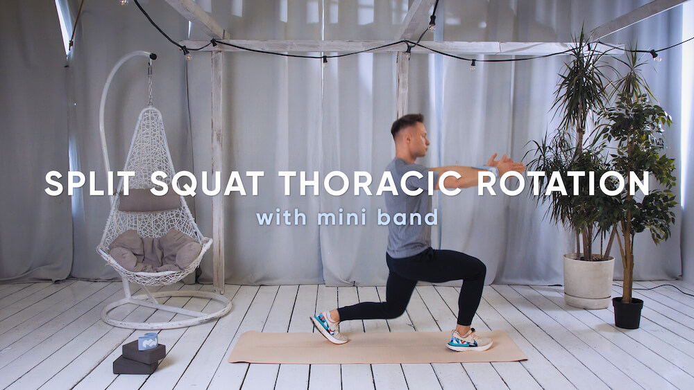 Split squat thoracic rotation with mini band