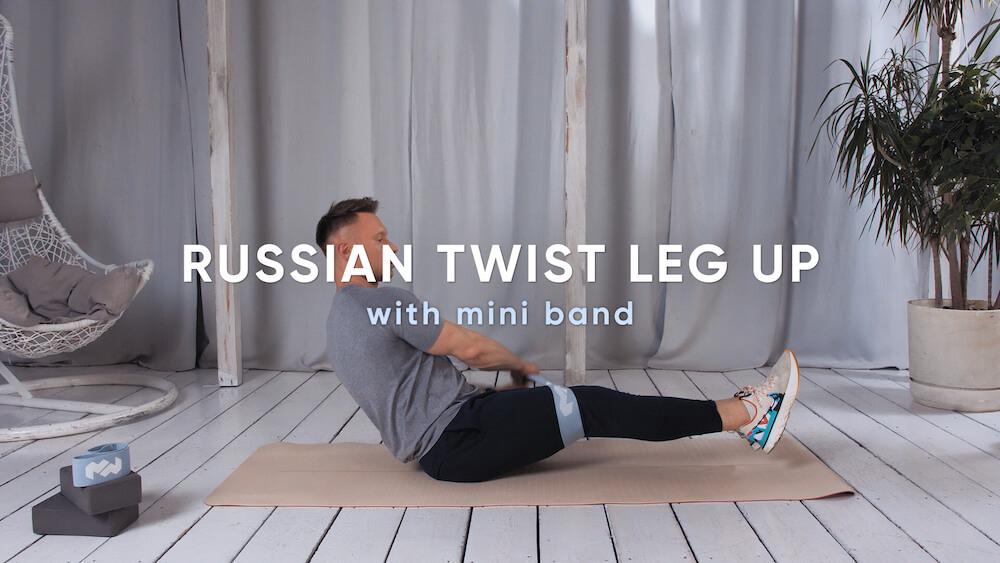 Russian twist leg up with mini band