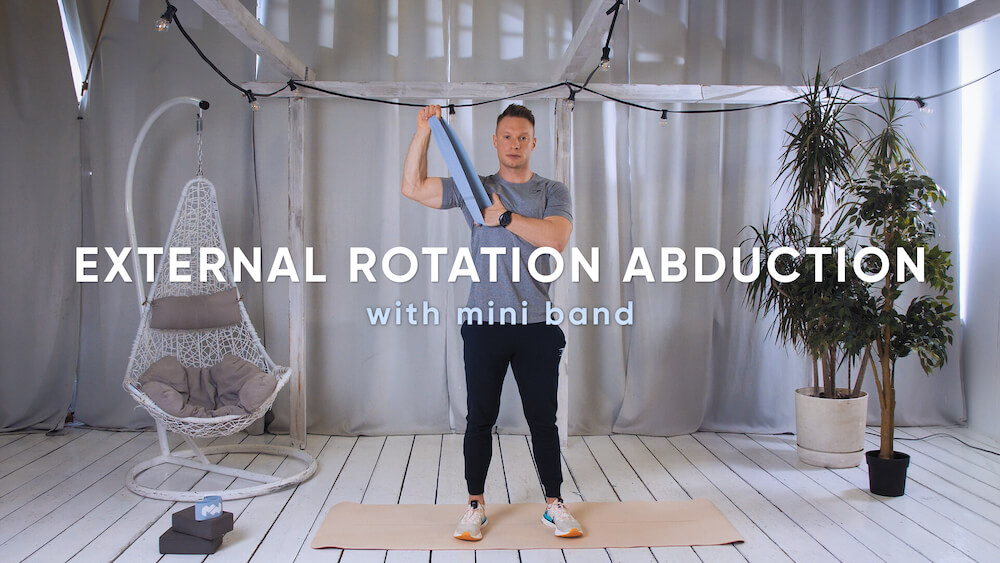 External rotation abduction with mini band