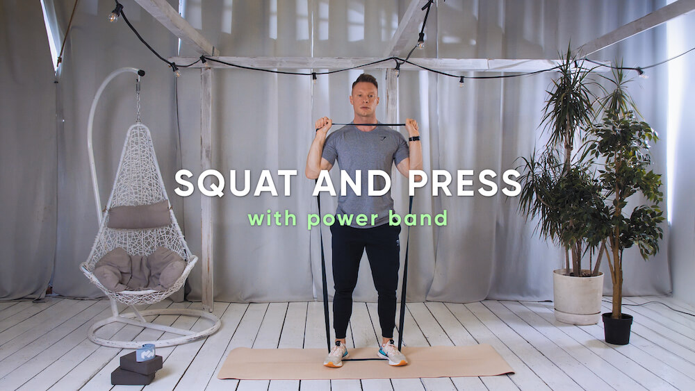 Squat and press with power band