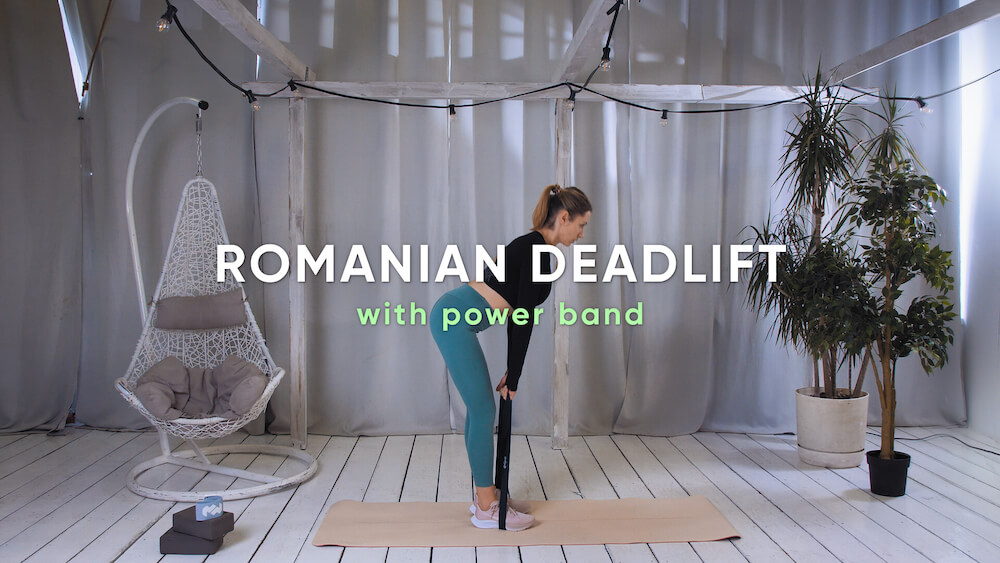 Romanian deadlift with power band