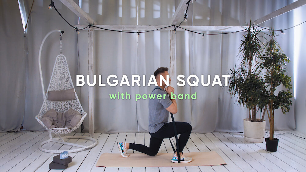 Bulgarian squat with power band