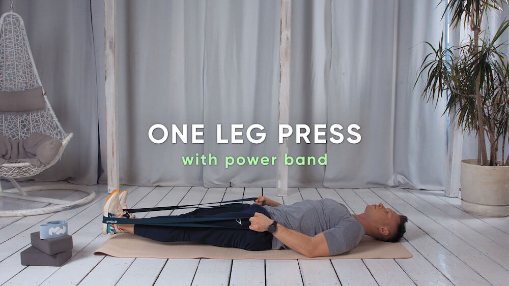 One leg press with power band