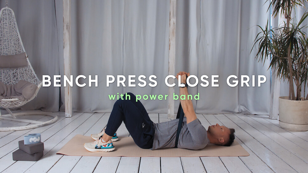 Bench press close grip with power band