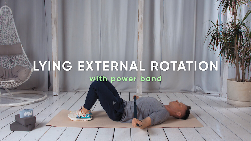 Lying external rotation with power band