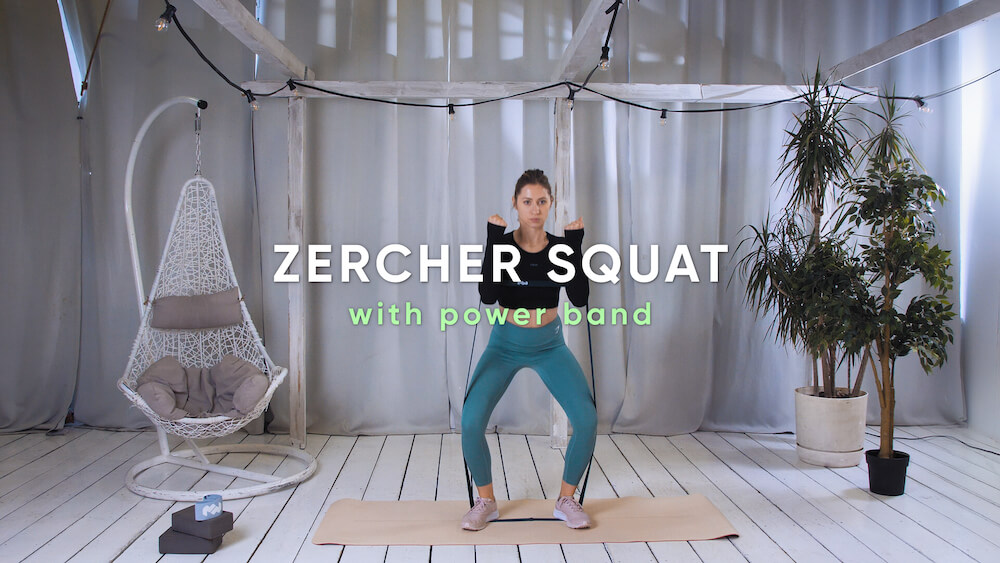 Zercher squat with power band