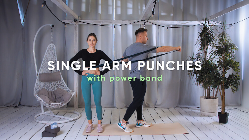 Single arm punches with power band