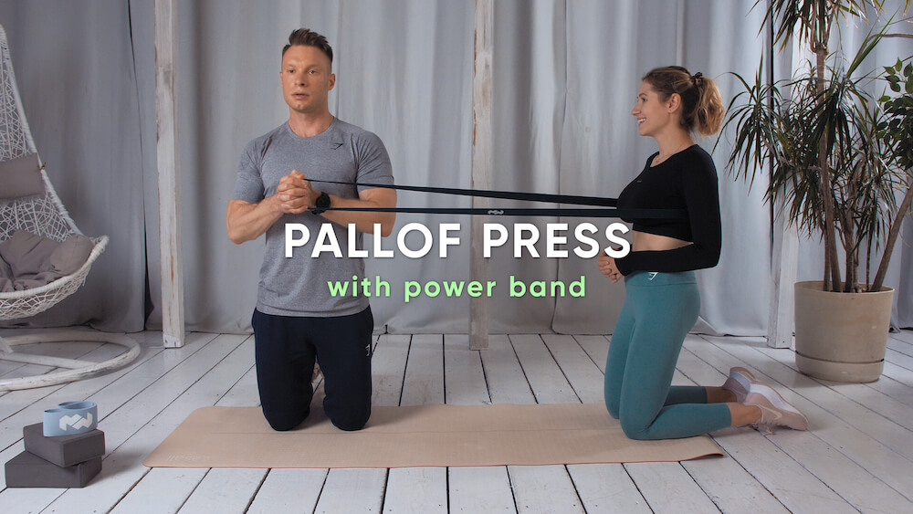 Pallof press with power band