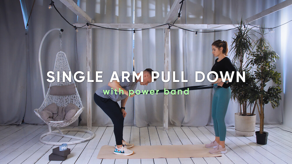 Single arm pull down with power band