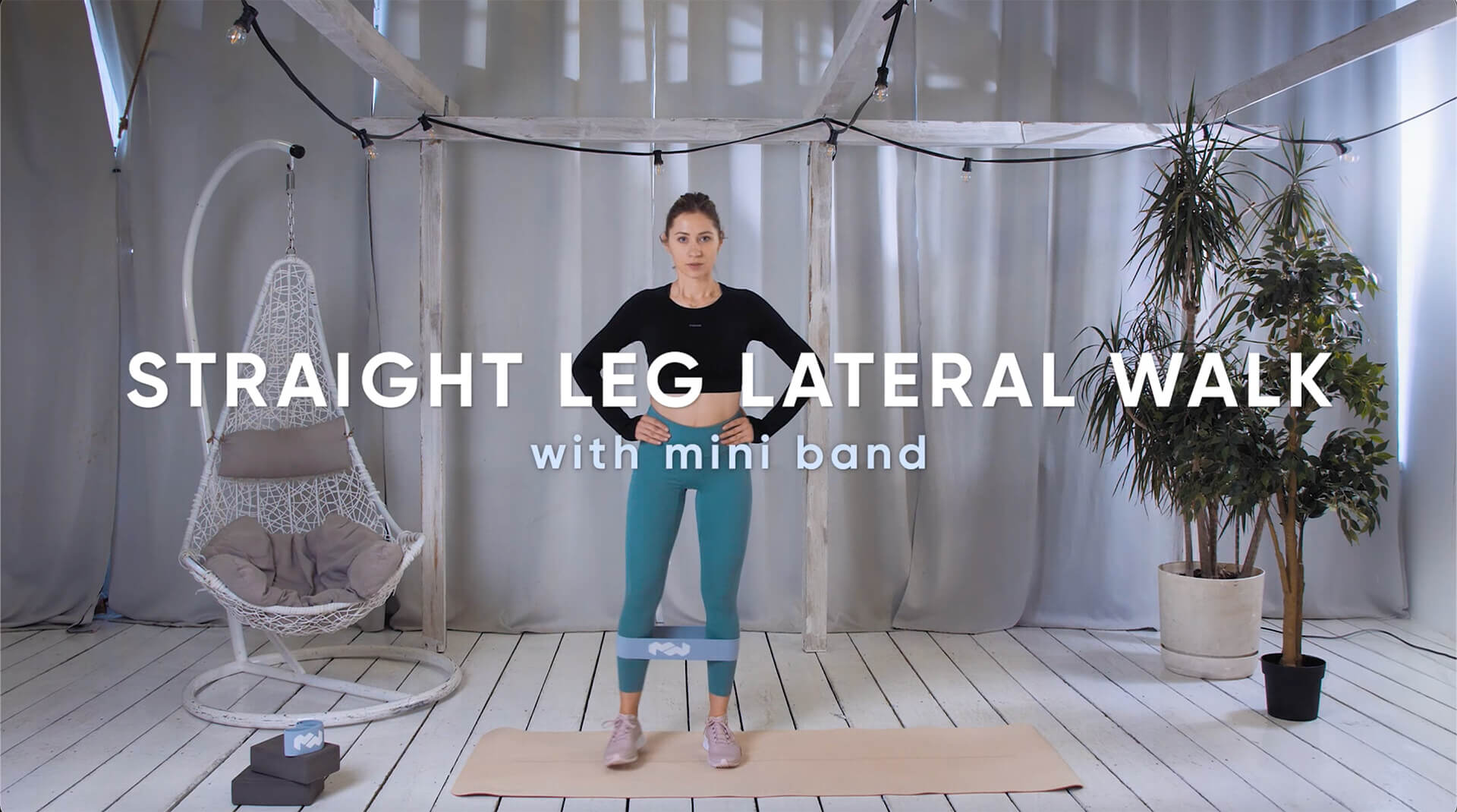 Straight leg lateral walk with mini band