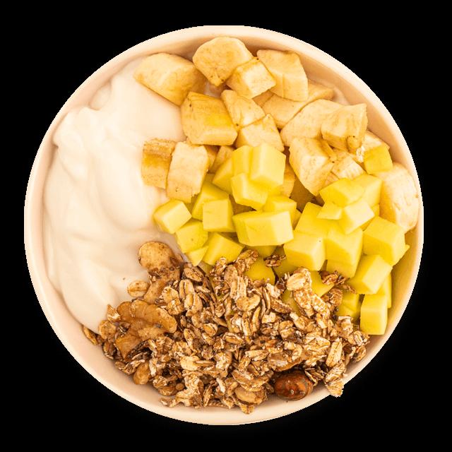 bowl śniadaniowy z jabłkiem i bananem