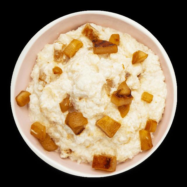 ryżowy pudding z prażonymi gruszkami
