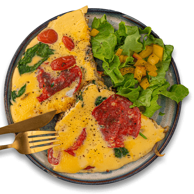 omlet ze szpinakiem i chorizo