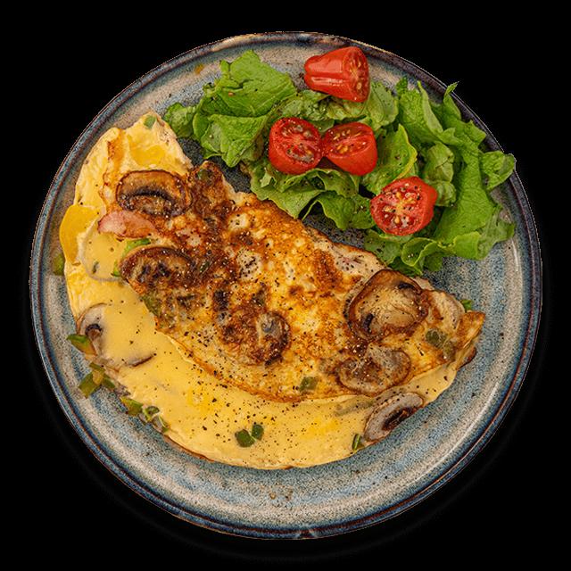 omlet z papryką i pieczarkami