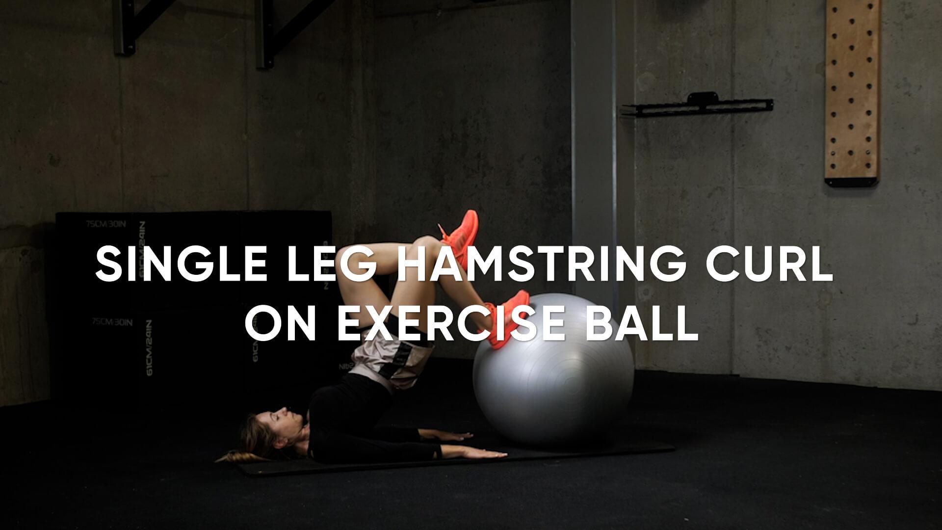 Single Leg Hamstring Curl on Exercise Ball