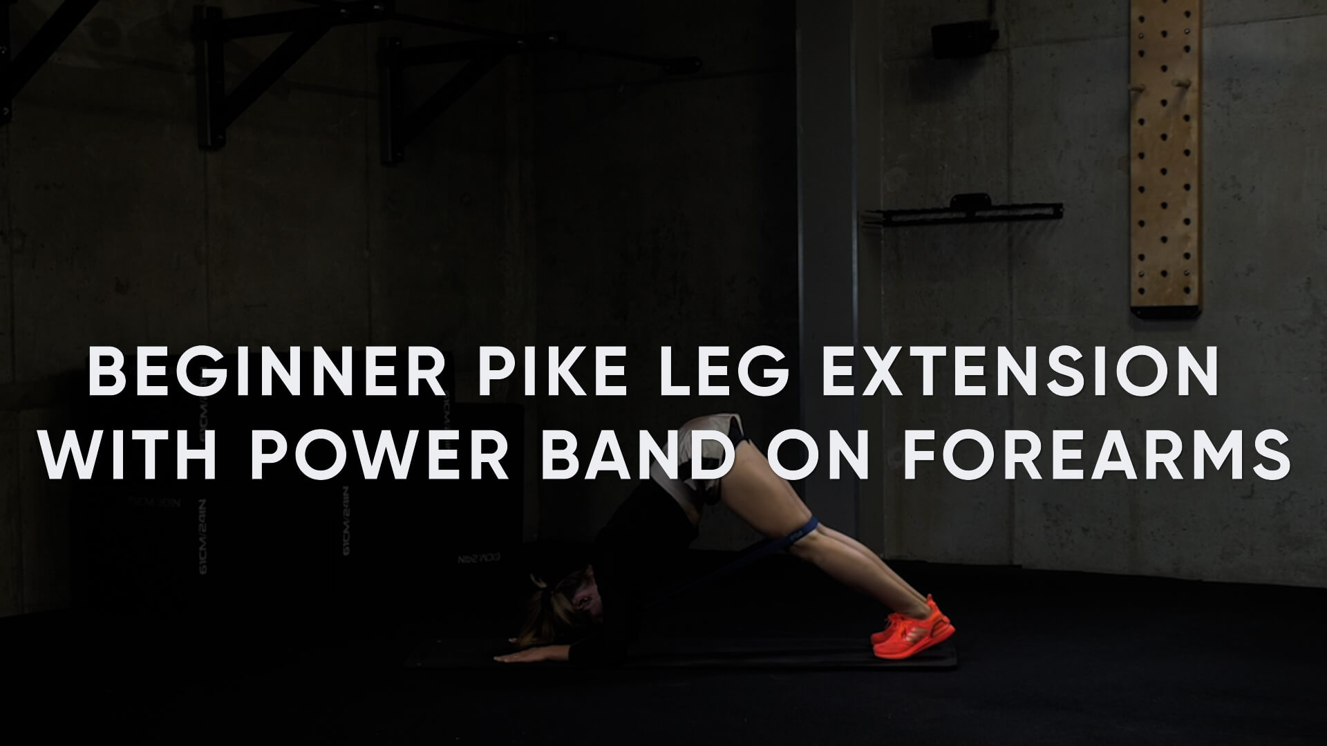 Beginner Pike Leg Extension with Power Band on Forearms
